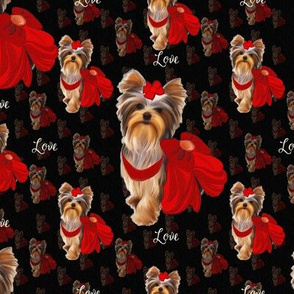 """Yorkie Loves Red  4"""" size"""