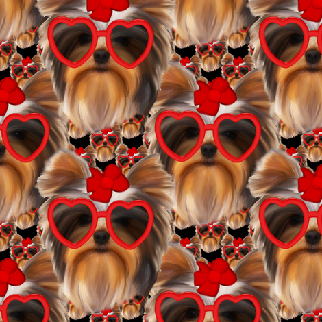 Yorkie - Lovely Cool fabric by sherry-savannah on Spoonflower - custom fabric