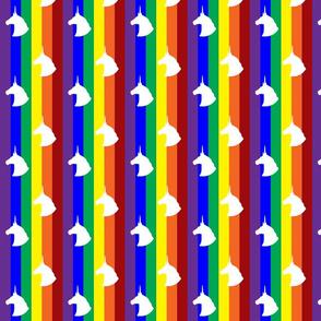 Rainbow Unicorn Polka Dots Vertical Stripes (White)
