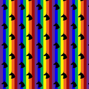 Rainbow Unicorn Polka Dots Vertical Stripes (Black)