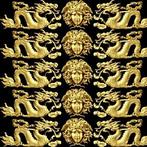 1 gold medusa versace inspired  baroque rococo black gold clouds dragons fire flames asian japanese china chinese gorgons Greek Greece oriental mythology far east meets west fusion chinoiserie