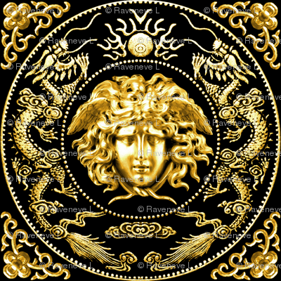 1 gold medusa versace inspired  baroque rococo black gold flowers floral filigree clouds dragons sun fire flames pearl asian japanese china chinese gorgons Greek Greece mythology far east meets west fusion oriental chinoiserie