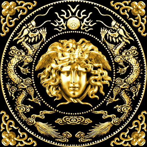 1 gold medusa versace inspired  baroque rococo black gold flowers floral filigree clouds dragons sun fire flames pearl asian japanese china chinese gorgons Greek Greece mythology far east meets west fusion oriental chinoiserie  fabric by raveneve on Spoonflower - custom fabric