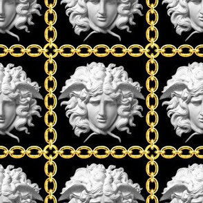 3 interlinked criss cross interconnected connected chains gold medusa versace inspired  baroque rococo black gold white square links gorgons Greek Greece mythology