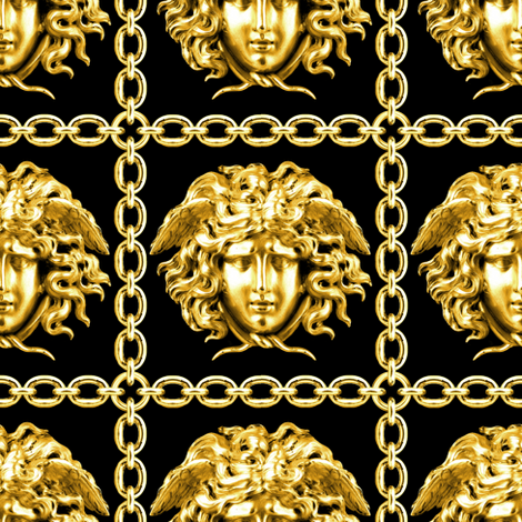 1 interlinked criss cross interconnected connected chains gold medusa versace inspired  baroque rococo black gold square links gorgons Greek Greece mythology  fabric by raveneve on Spoonflower - custom fabric