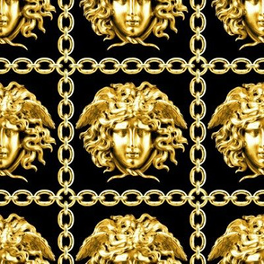 1 interlinked criss cross interconnected connected chains gold medusa versace inspired  baroque rococo black gold square links gorgons Greek Greece mythology