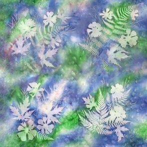 Blue Green Maples Ferns Cosmos