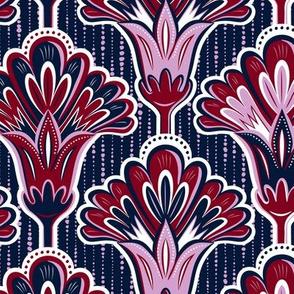 Orchid & Navy Folk Floral - Large