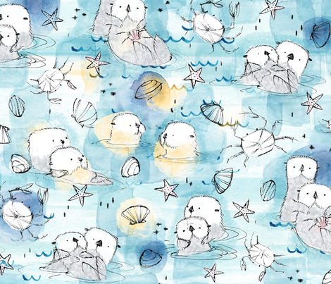 Cuddling Otters in sunshine - © Lucinda Wei fabric by lucindawei on Spoonflower - custom fabric