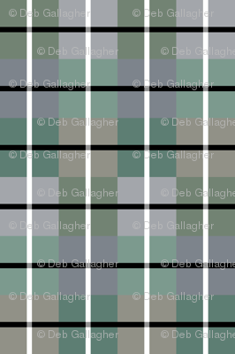 Green Grey Black White Plaid