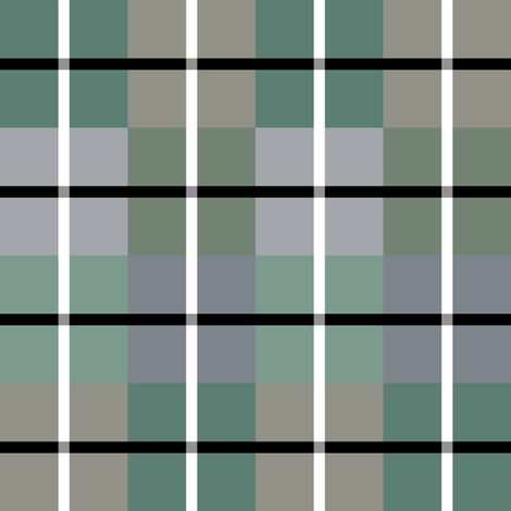 Green Grey Black White Plaid  fabric by debgallagherdesign on Spoonflower - custom fabric