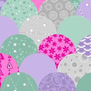 Large Scallop Sea (Purple, Mint, Silver, Hot Pink)