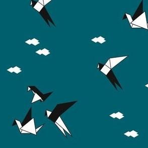 Origami birds geometric cranes - teal