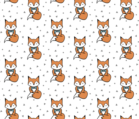 Cute Red Fox with Bow Tie fabric by lanie-alvee on Spoonflower - custom fabric