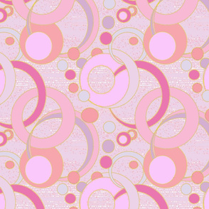 Blush Salmon Pink Art Deco Bubbles