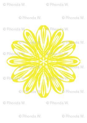 Mellow Yellow Flowers on White