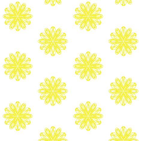 Mellow Yellow Flowers on White fabric by rhondadesigns on Spoonflower - custom fabric
