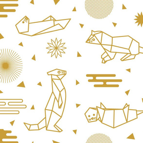 Golden Origami Otters