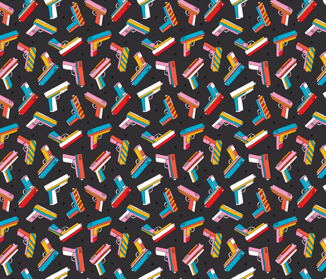 Top shooting Pop series toy gun colorful revolver design fabric by littlesmilemakers on Spoonflower - custom fabric