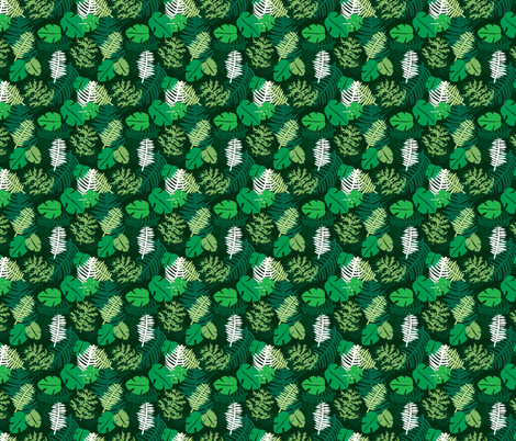Green lush botanical garden palm leaves and monstera plants SMALL fabric by littlesmilemakers on Spoonflower - custom fabric