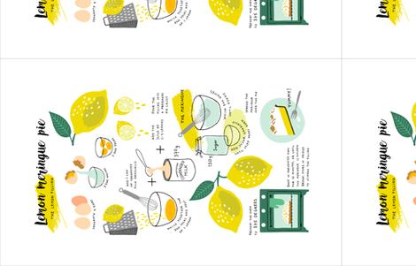 Lemon Meringue Pie Recipe (custom size) fabric by heleen_vd_thillart on Spoonflower - custom fabric
