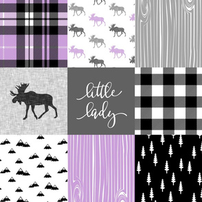 little lady - purple & black woodland patchwork