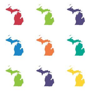 """Michigan silhouette - 6"""" multicolored"""