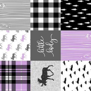 Little Lady - Purple and black woodland patchwork (90)