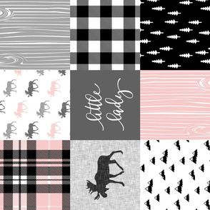little lady - pink grey black woodland patchwork (90) C18BS