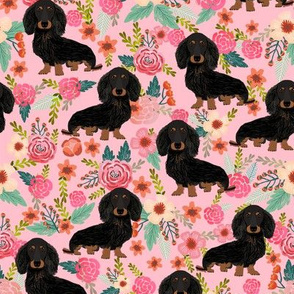doxie floral black and tan longhair dog breed dachshunds fabric pink