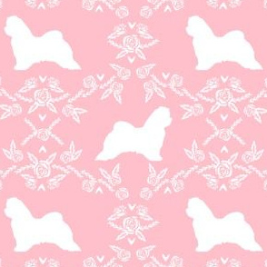 maltese floral silhouette dog breed fabric pink