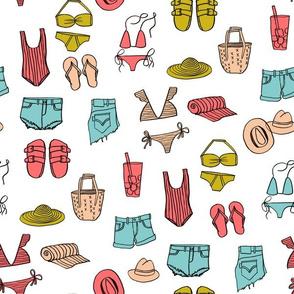 summer uniform // bathing suit beach flip flops swimsuit bikini vacation beach fabric white multi