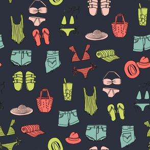 summer uniform // bathing suit beach flip flops swimsuit bikini vacation beach fabric dark