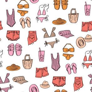 summer uniform // bathing suit beach flip flops swimsuit bikini vacation beach fabric white orange