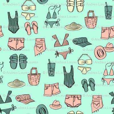 summer uniform // bathing suit beach flip flops swimsuit bikini vacation beach fabric mint