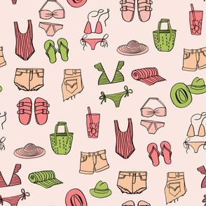 summer uniform // bathing suit beach flip flops swimsuit bikini vacation beach fabric pink