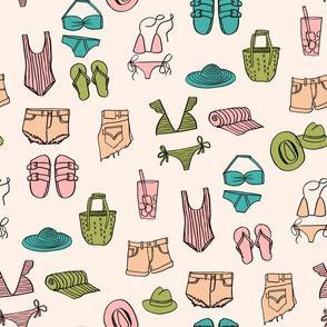 summer uniform // bathing suit beach flip flops swimsuit bikini vacation beach fabric cream