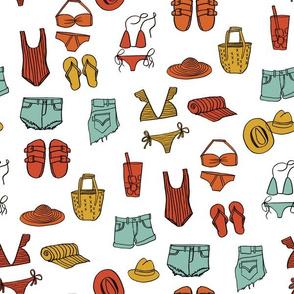 summer uniform // bathing suit beach flip flops swimsuit bikini vacation beach fabric white