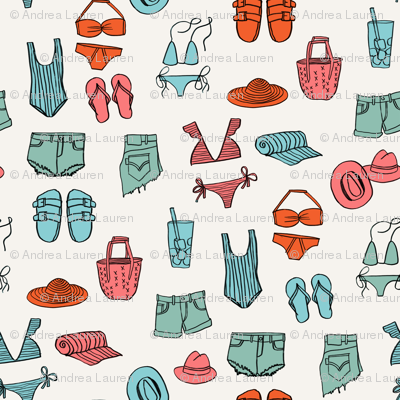 summer uniform // bathing suit beach flip flops swimsuit bikini vacation beach fabric red and blue