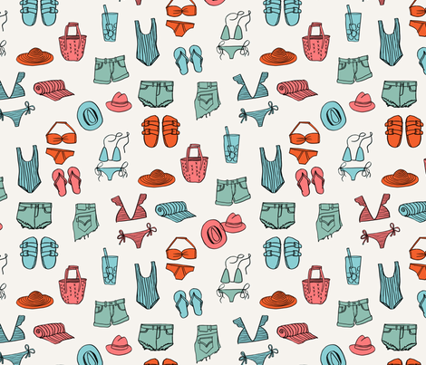 summer uniform // bathing suit beach flip flops swimsuit bikini vacation beach fabric red and blue fabric by andrea_lauren on Spoonflower - custom fabric