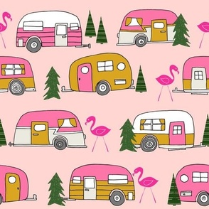 vintage camper (large) // pink vintage retro camper van cute retro design camping camper van retro camper