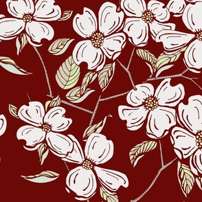 Dogwood Floral on Crimson