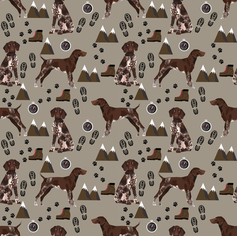 german shorthaired pointer (smaller) dog fabric dogs and hiking design dog mountains fabric - med brown fabric by petfriendly on Spoonflower - custom fabric