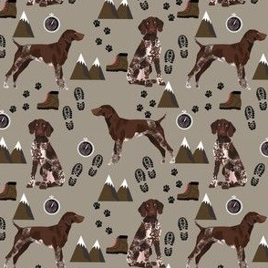 german shorthaired pointer (smaller) dog fabric dogs and hiking design dog mountains fabric - med brown