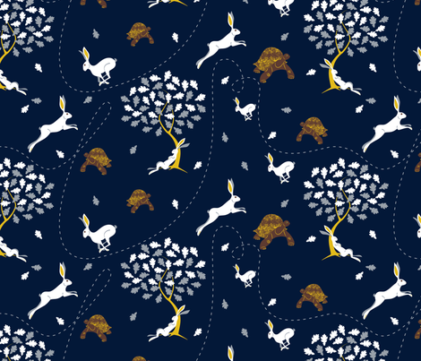 The Hare & the Tortoise fabric by overbye on Spoonflower - custom fabric
