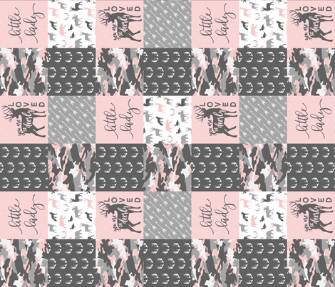 You are so deerly loved / little lady - pink and grey camo - woodland patchwork (90) fabric by littlearrowdesign on Spoonflower - custom fabric