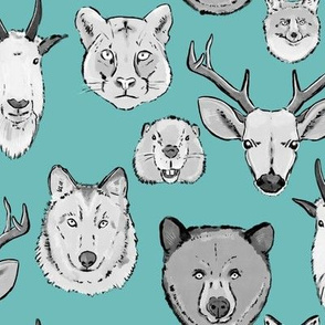 Large Western Animal Faces on Light Blue