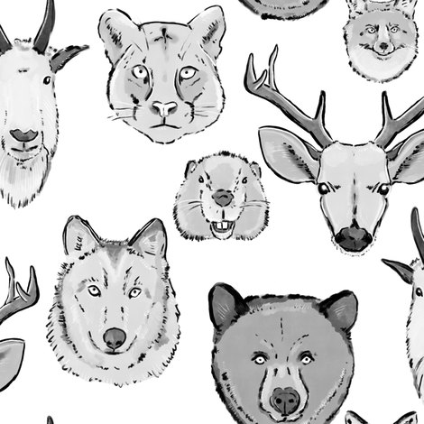 Large Western Animal Faces on White fabric by landpenguin on Spoonflower - custom fabric