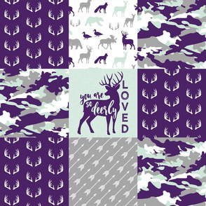 You are so deerly loved / little lady - purple and mint camo - woodland patchwork