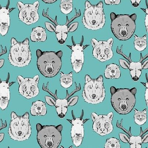 Western Animal Faces on Light Blue